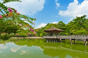 Japanese Garden with Bridge and Pagoda