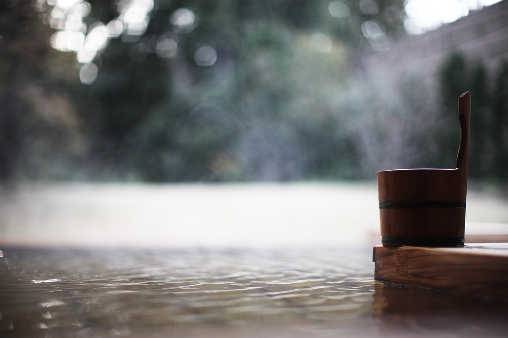 Onsen Bath Hot Spring Bucket and Steam