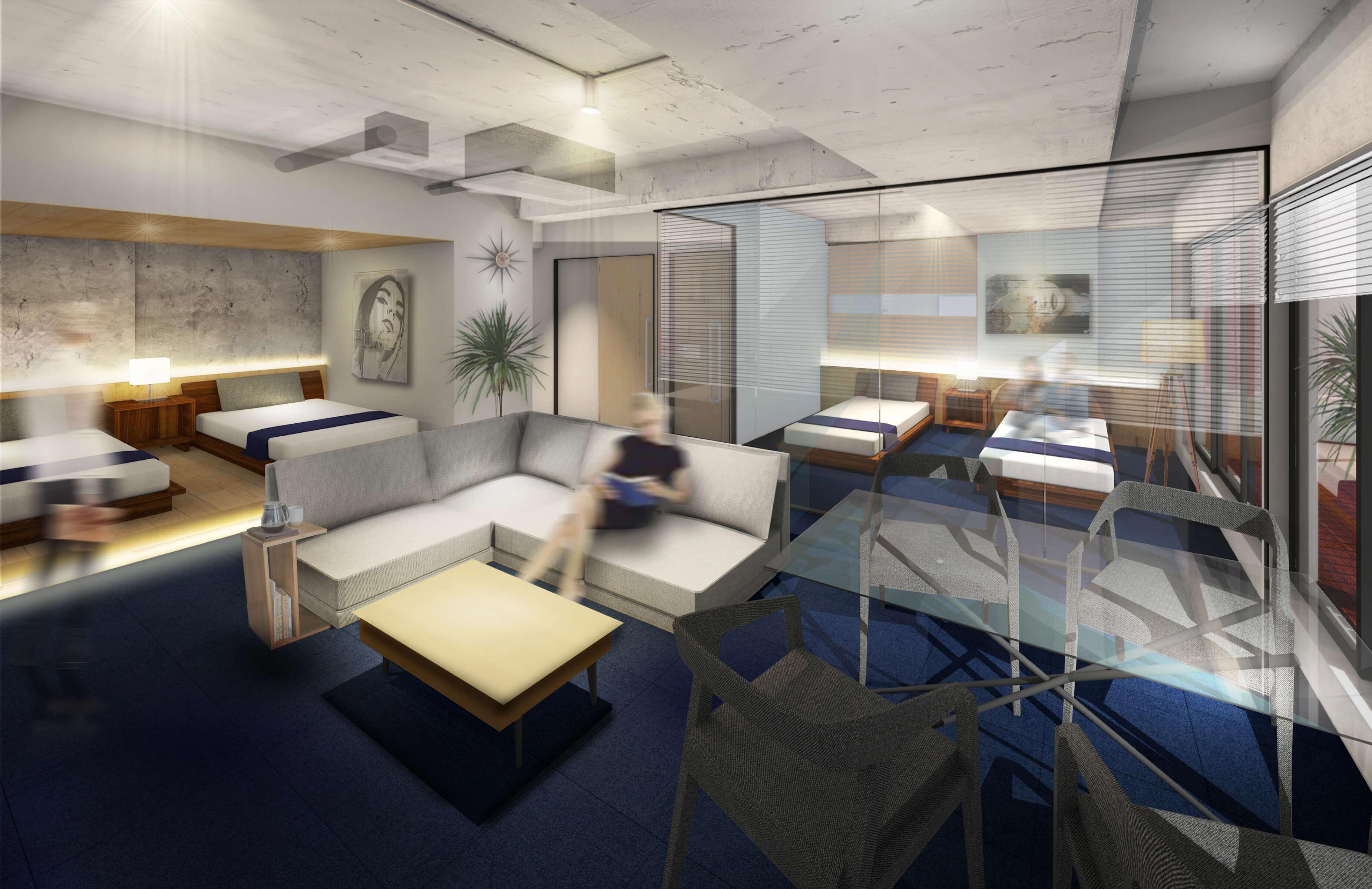 雑居ビルをリノベーションした「STAY in the City AMEMURA」が大阪・心斎橋に8月29日開業